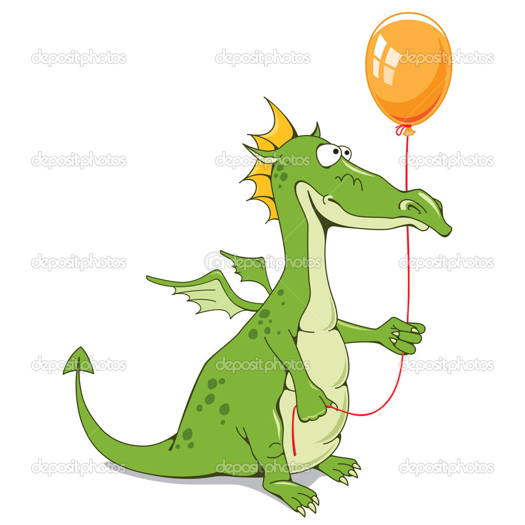 Funny dragon with a balloon on a white background — Stock Vector #11913596