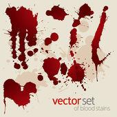 Vector set of splattered blood stains — Stock Vector