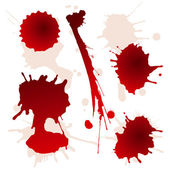 Set of splattered blood stains — Stock Vector