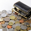 Stock Photo: Black purse with coin of different countries