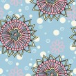 Beautiful flower seamless pattern background with dots and flowers — Stock vektor #11930604