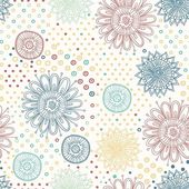 Beautiful flower seamless pattern background with dots and flowers — Stock Vector