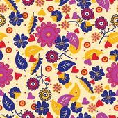 Beautiful autumn seamless pattern background with leaves and flowers — Stock Vector