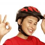 Boy bike helmet — Stock Photo