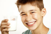 Boy drink milk — Stock Photo