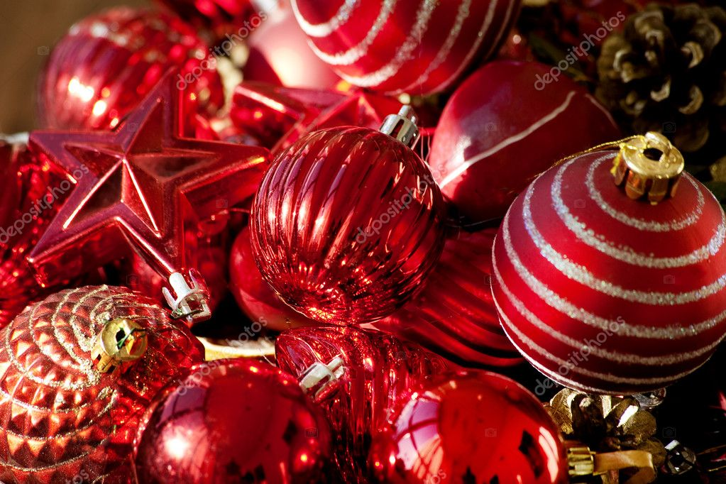 Red christmas tree  decoration background — Stock Photo #11952755