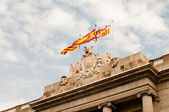 Flags of catalonia, spain in Barcelona and Barcelona City Council — Stock Photo