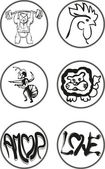 Black and white logos — Stock Vector