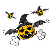 Creepy Flying Halloween Pumpkin — Stock Vector