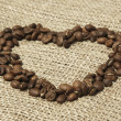 Royalty-Free Stock Photo: Coffee heart on canvas