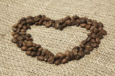 Coffee heart on canvas — Stock Photo