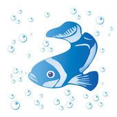 Fish and bubbles — Stock Vector