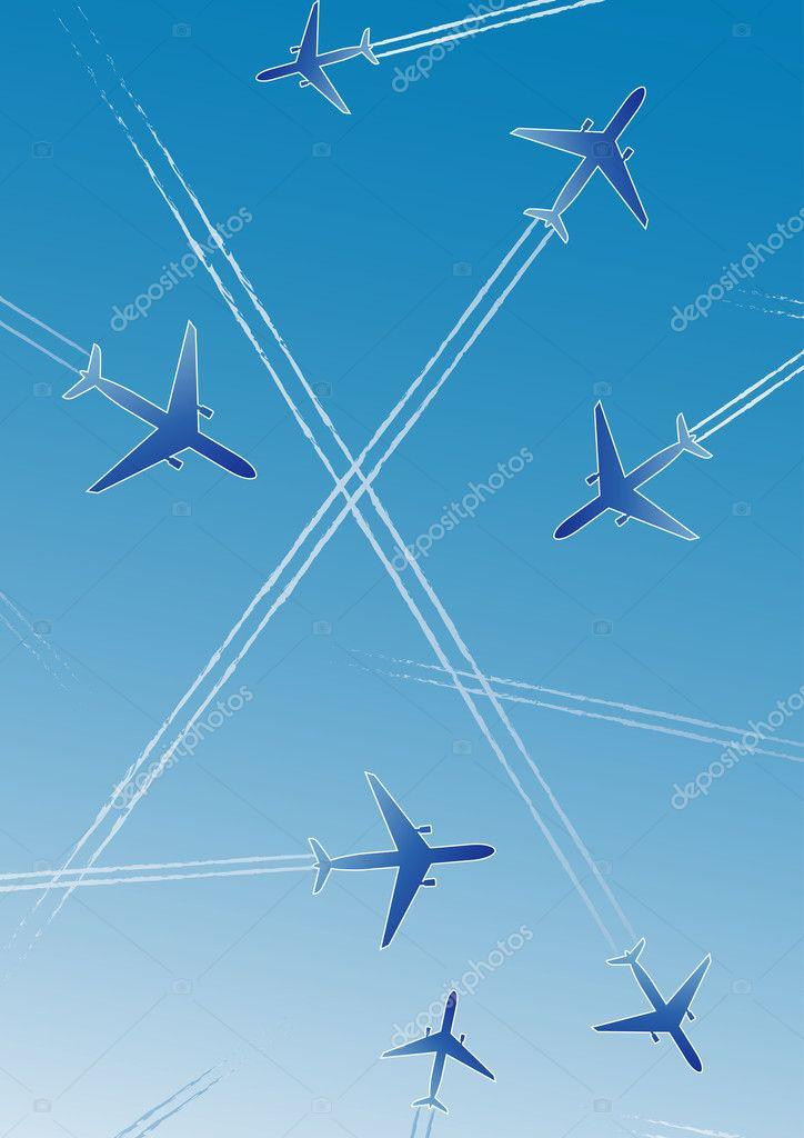 用白色线条的蓝色背景上的飞机.孤立的设计元素