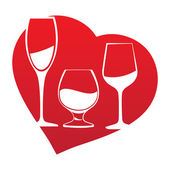 Wine glass inside heart frame — Vector de stock