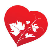 Grape leaves inside heart frame — Vector de stock