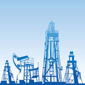 Oil rig silhouettes — Stock Vector