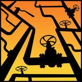 Gas valves over sunset — Stock Vector