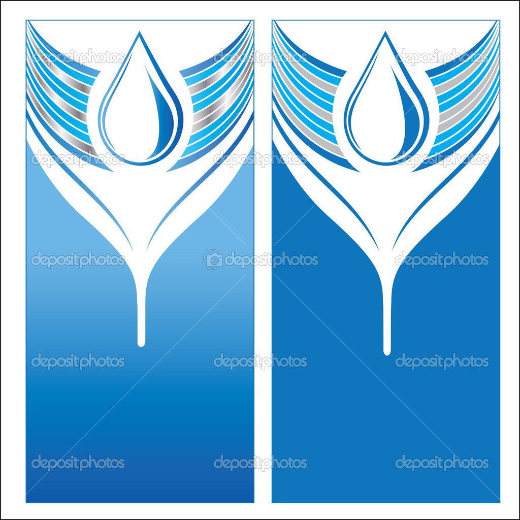 Set of water drops. Abstract design in a blue background. Vector illustration. — Stock Vector #12090292