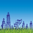 Oil rig and pump over blue background with grass. — Stock Vector #12187289