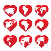 Continents inside red heart frame — Stock Vector