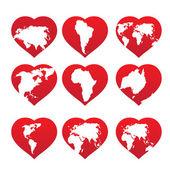 Kontinente in rot herzrahmen — Stockvektor