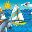 Cartoon seascape with different ships — Stock Photo