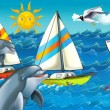 Royalty-Free Stock Photo: Cartoon seascape with different ships