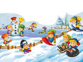 Winter fun kids — Stock Photo