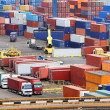 Stock Photo: Truck transport container to warehouse near sea