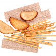 Stock Photo: Rusk and salted breadsticks isolated