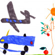 Royalty-Free Stock Photo: Children's drawing. airplane, car, tree, sun