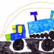 Children's drawing. trucks — Stock Photo