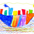 Children's drawing. ship and sea — Stock Photo