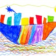 Royalty-Free Stock Photo: Children's drawing. ship and sea