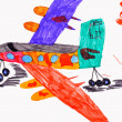 Royalty-Free Stock Photo: Children's drawing. airplane