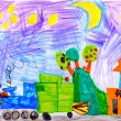Children&amp;#039;s drawing. night and train - Foto Stock