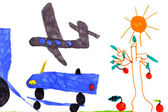 Children's drawing. airplane, car, tree, sun — Stock Photo