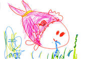 Child's drawing on paper — Stock Photo