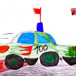 Red racing car. child's drawing — Stock Photo