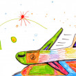 Airplane. children's drawing. — Stock Photo