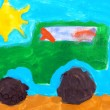 Stock Photo: Child's drawing. Jeep drive off road