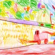 Child's drawing. Combine harvesting a wheat and space rocket. - Foto de Stock