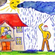 Child's drawing watercolor. magician causes rain — Stock Photo