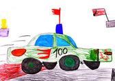 Red racing car. child's drawing — Zdjęcie stockowe