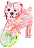 Dog playing with a ball. child's drawing. — Stock Photo