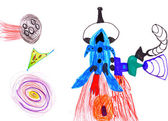 Space rocket. children's drawing. — Stock Photo