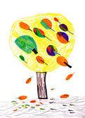 Tree. child's drawing — Stock Photo