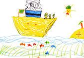 Children's drawing. ship and sea — Stockfoto
