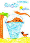 Bucket of food for dogs. child's drawing — Stock Photo