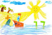Ship and sea. children's drawing. — Стоковое фото